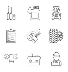 autorepair shop icons set outline style vector image