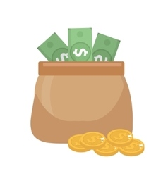 Bag money and coins icon flat style isolated on vector image