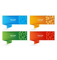 Banners set with colored cubes shape vector