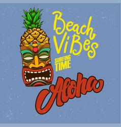 Beach vibes aloha emblem template with tiki idol vector