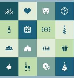 birthday icons universal set for web and ui vector image