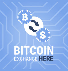 Bitcoin exchange here image on chipset vector