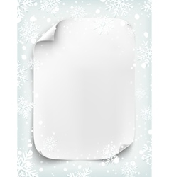 Blank white sheet of paper on winter background vector image