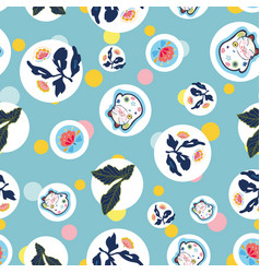 Blue pattern with happy cat dot and floral vector