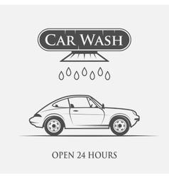 Car wash vintage style vector