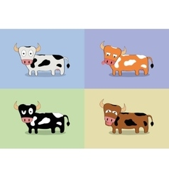 Cartoon cow set vector