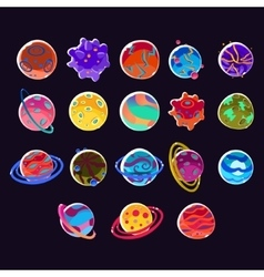 Cartoon Fantasy Planets vector
