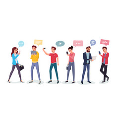 cartoon people chatting via internet vector image