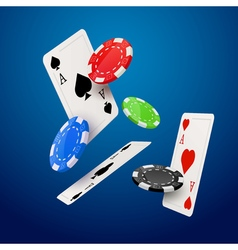Casino poker design template Falling poker cards vector image vector image