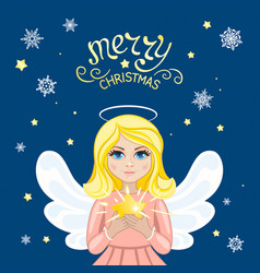 Christmas angel with star vector