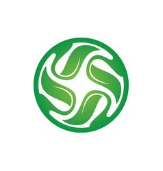 circle leaf swirl logo image vector image