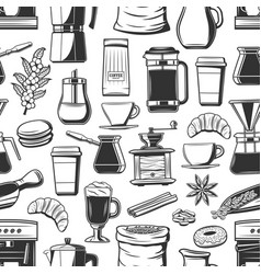 coffee cups bakery and seasoning seamless pattern vector image