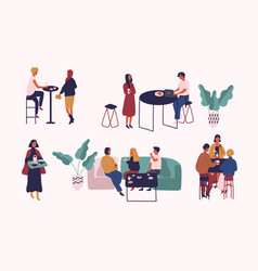 collection of people sitting at tables drinking vector image