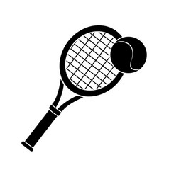 contour racket and tennis ball icon vector image