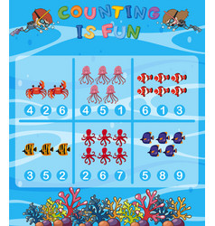 Count the number underwater theme vector