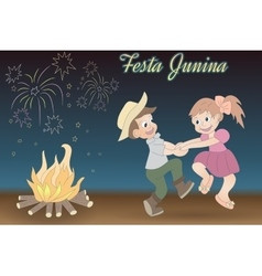 Cute hand drawing of dancing children bonfire and vector image