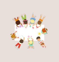 Cute litttle kids lying and drawing on big paper vector