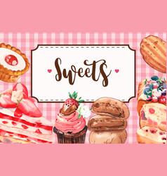 Dessert frame design with pie strawberry cake vector