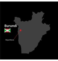 Detailed map of Burundi and capital city Bujumbura vector image