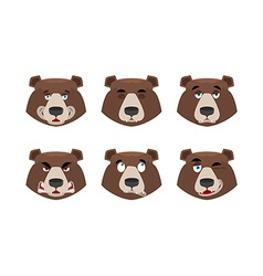 Emotions bear Set expressions avatar grizzly vector image