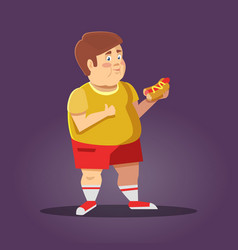 Fat boy with fast food unhealthy eating vector