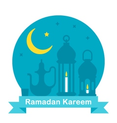 Flat design Ramadan teapot and lanterns vector image