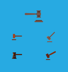 flat icon hammer set of defense government vector image