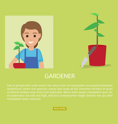 Gardener advertisement web page banner vector