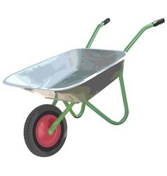 Gardening wheelbarrow on one wheel The empty vector image