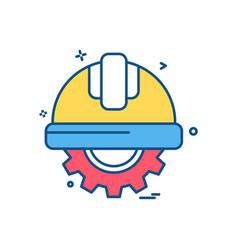 Gear halmet labor icon design vector