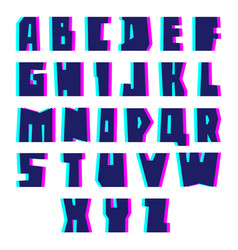 Glitch alphabet letters and numbers with effect vector