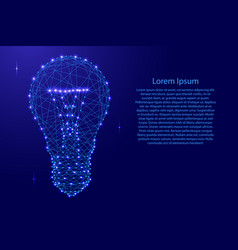 glowing light bulb from polygonal blue lines and vector image