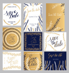 golden dark-blue and white invitation templates vector image
