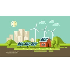 Green energy urban landscape ecology vector