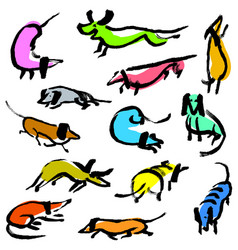 hand drawn doodle dachshund dogs artistic canine vector image