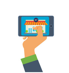 hand hold phone online store on the smartphone vector image