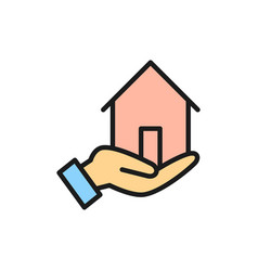 hand holds house home insurance real estate vector image