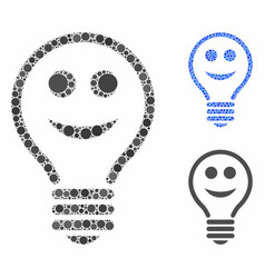 Happy electric bulb composition icon circles vector