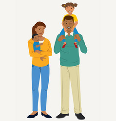 Happy family poses with two kids vector