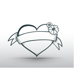 heart banner drawn for love vector image