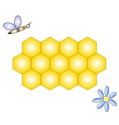 honeycomb bee and flower vector image vector image