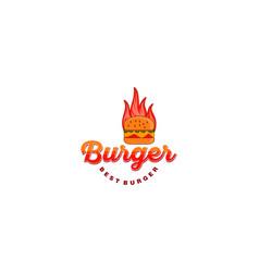 hot burger logo designs inspiration vector image