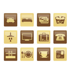 hotel and motel icons over brown background vector image