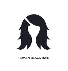 Human black hair isolated icon simple element vector