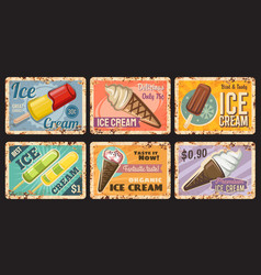 ice-cream desserts cafe menu rusty metal plates vector image