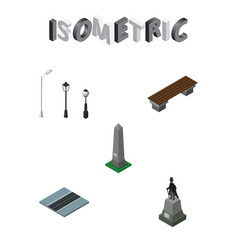 isometric architecture set of city lights seat vector image