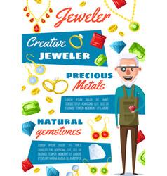 jeweler appraiser profession jewelry repair vector image