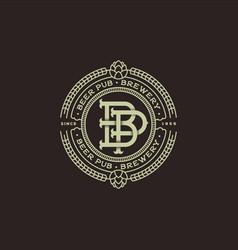 logo beer pub b and p emblem vector image