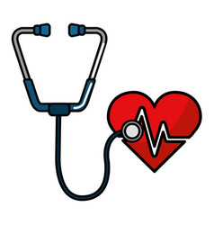 Medical stethoscope and heart design vector