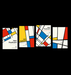Modern set covers posters inspired mondrian vector